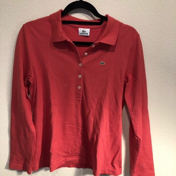 Lacoste Tops - Red long sleeve Lacoste polo